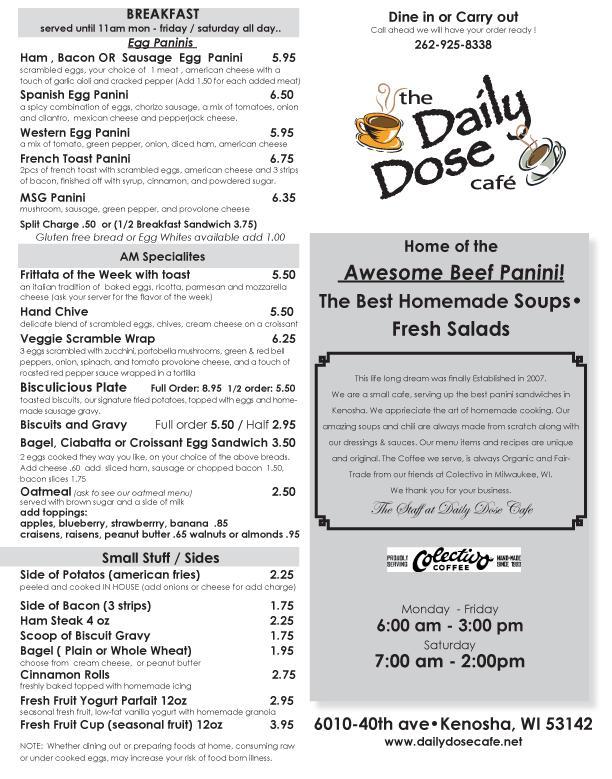 Cafe Menu Daily  Pdf
